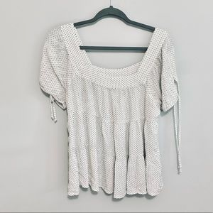 Maurices White Polka Dot Tier Blouse size Large